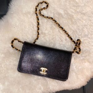 CHANEL Black Lizard Flap Bag Gold